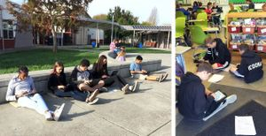Students sit on carpet squares in the classroom and outdoors.