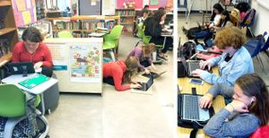 Two photos show students in a flexible classroom.