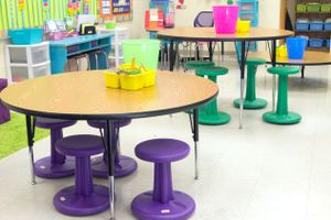 Circular tables at different heights in a classroom.