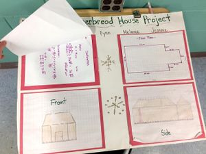 A poster display showing students' planning for a gingerbread house