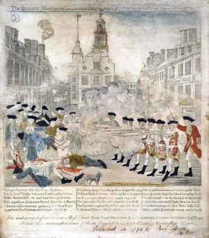 An engraving by Paul Revere of the Boston Massacre of 1770