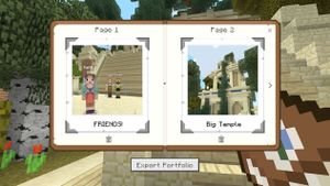 Minecraft game image showing an open book with pictures of Minecraft constructions