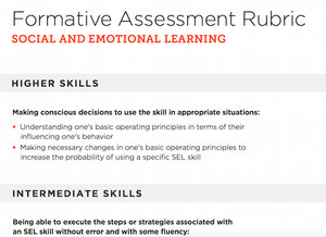 Social and Emotional Learning formative assessment rubric outlining what skills qualify as intermediate and advanced.