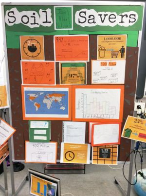 A display board covered with images supporting a student's written work