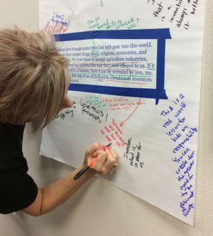 photograph of a teacher writing on a collaborative document