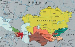 A map of Kazakhstan next to Russia, China, and surrounding countries.