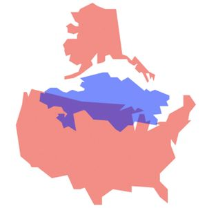 A simple, blank map of the United States next to Kazakhstan to compare their sizes.