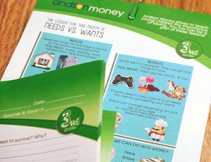 A 3rd grade handout from Andson Money showing the lesson for the month is needs versus wants