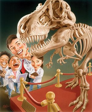 Illo of students and teacher wearing lab coats looking at dinosaur T-Rex bones in a museum