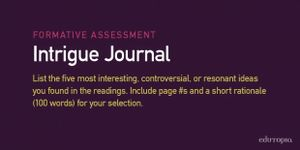 Intrigue Journal: List the five most interesting, controversial, or resonant ideas you found in the readings. Include page numbers and a short rationale (100 words) for your selection