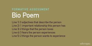 Bio Poem: Line 1) 3 adjectives that describe the person; Line 2) 1 important relationship this person has; Line 3) 2 things that the person loves; Line 4) 3 fears the person experiences; Line 5) 2 things the person wants to experience