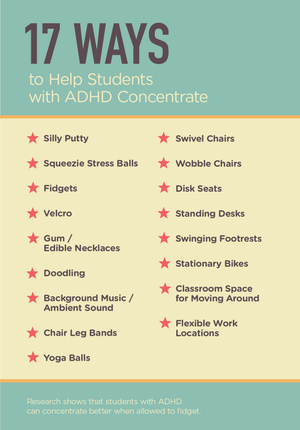 Infographic of 17 ways that can help students with ADHD concentrate
