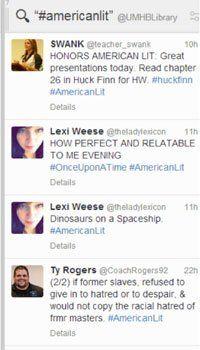 Screen grab of hashtag americanlit Tweet chat