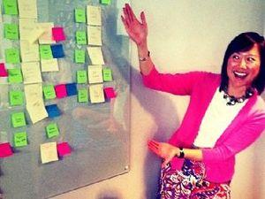 Presenter practicing design thinking