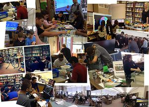 A photo collage of various spaces in the library, with students interacting.