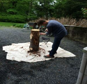 student working with log