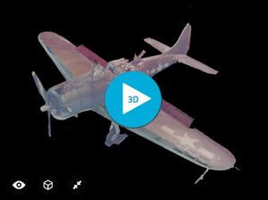 Screen grab of a WWII aircraft created in 3D