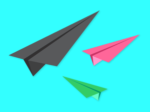 Different colored paper airplanes rising