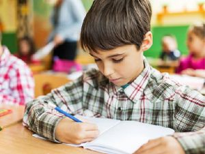 Student writing in a notebook