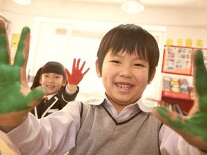Kids with Paint on Their Hands