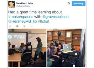 A Tweet with two classroom images