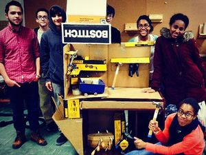 A photo of the students working in the makerspace.