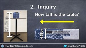 Inquiry screen grab comparing the height of a table to the height of a ream of paper