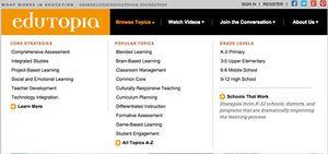 Screen grab of edutopia topics navigation