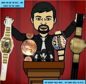 A drawing of a bearded man in front of a podium holding up four world wrestling belts