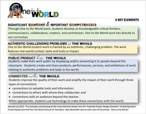 One to The World 4 Key Elements: Significant Content and Important Competencies; Authentic Challenging Problems in The World; Public Product for The World; and Connected with The World