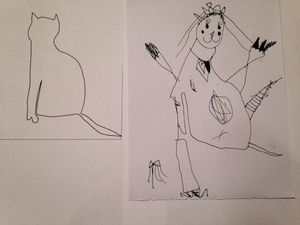 side-by-side image of a drawn cat outline with a child's interpretation