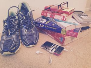 School books, glasses, sneakers