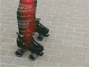 Roller skates and funky leggings