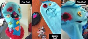 Three shots of a puppet in different phases of creation