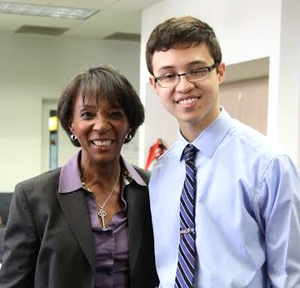 Jackie Lacey with student