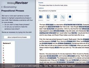 Screen grab of WritingReviser's Prepositional Phrases page