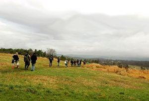 Students walking in a big meadow area