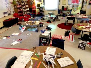 A messy classroom with flexible seating