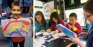 A two-image collage. On the right, a young boy is standing inside of a bus smiling and holding artwork he made. On the left, a young boy and girl and two adults are sitting inside of a bus coloring with markers and cutting paper.