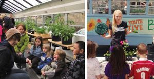 Two photos collaged together. On the left, an adult female is giving a gardening lesson to young kids inside of a bus, and on the right, a female teen is giving a gardening lesson to kids in front of the same bus.