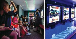 A two-image collage of the interior of a science, tech, engineering, and math bus. On the left, students are sitting in the bus listening to an adult speak, and on the right, plastic boxes are lined up on the seating against a wall with flat-screen TVs.