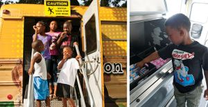 A two-image collage. On the left, young students are standing on the stairs of a bus smiling and laughing. On the right, a young boy is grabbing cold boxed milk from inside the bus.