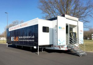 "The exterior of a double-expandable trailer that says, ""Mobile exploration lab for science and technology education."""