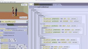 Screen grab of a student's code creating animated dancers