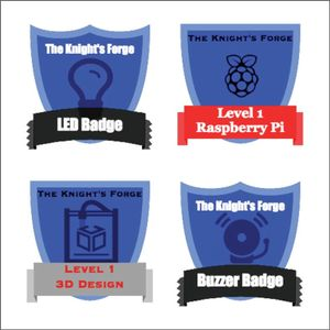 Four badges from the author's makerspace, labeled LED Badge, Level 1 Raspberry Pi, Level 1 3D Design, and Buzzer Badge