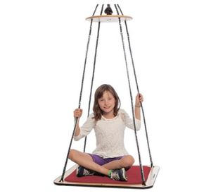 Product photo of a girl sitting cross-legged on a flat square platform swing
