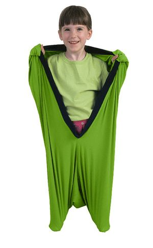 Product photo of a child in a soft bag-like outfit called a body sock