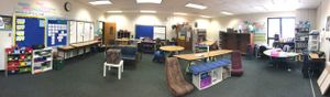 A panoramic view of a flexible classroom