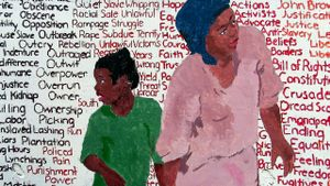 A painting of a young black girl and Harriet Tubman holding hands against a backdrop of words in black, red, and yellow, representing the oppression of slavery on one side and freedom on the other.
