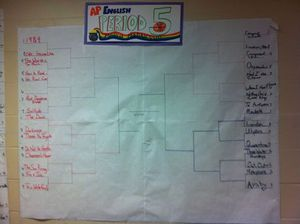 A poster on a classroom wall that mimics basketball's March Madness win-loss brackets, but instead it rates books.